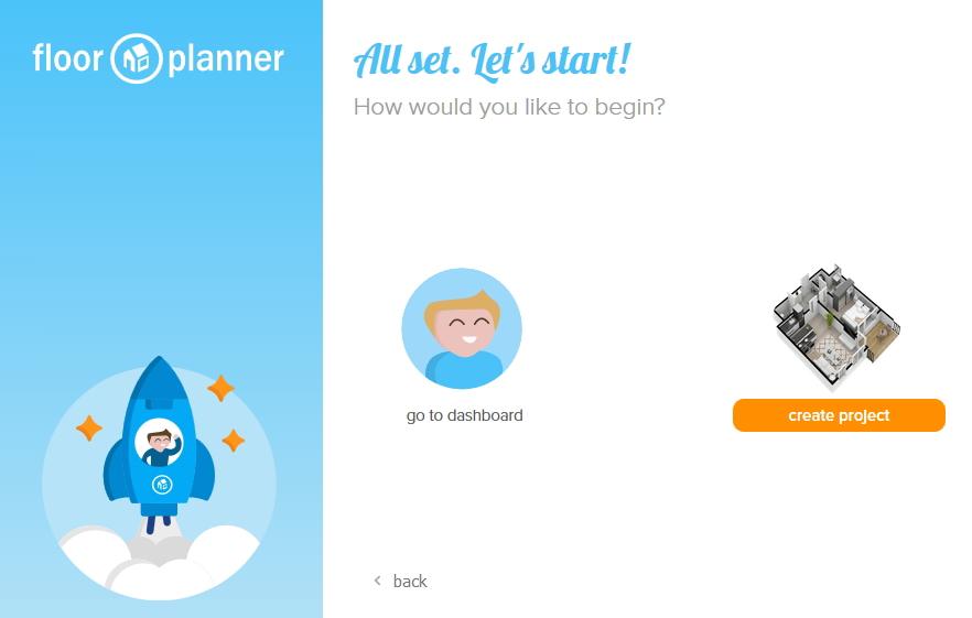 floor planner 「create project」で作成開始
