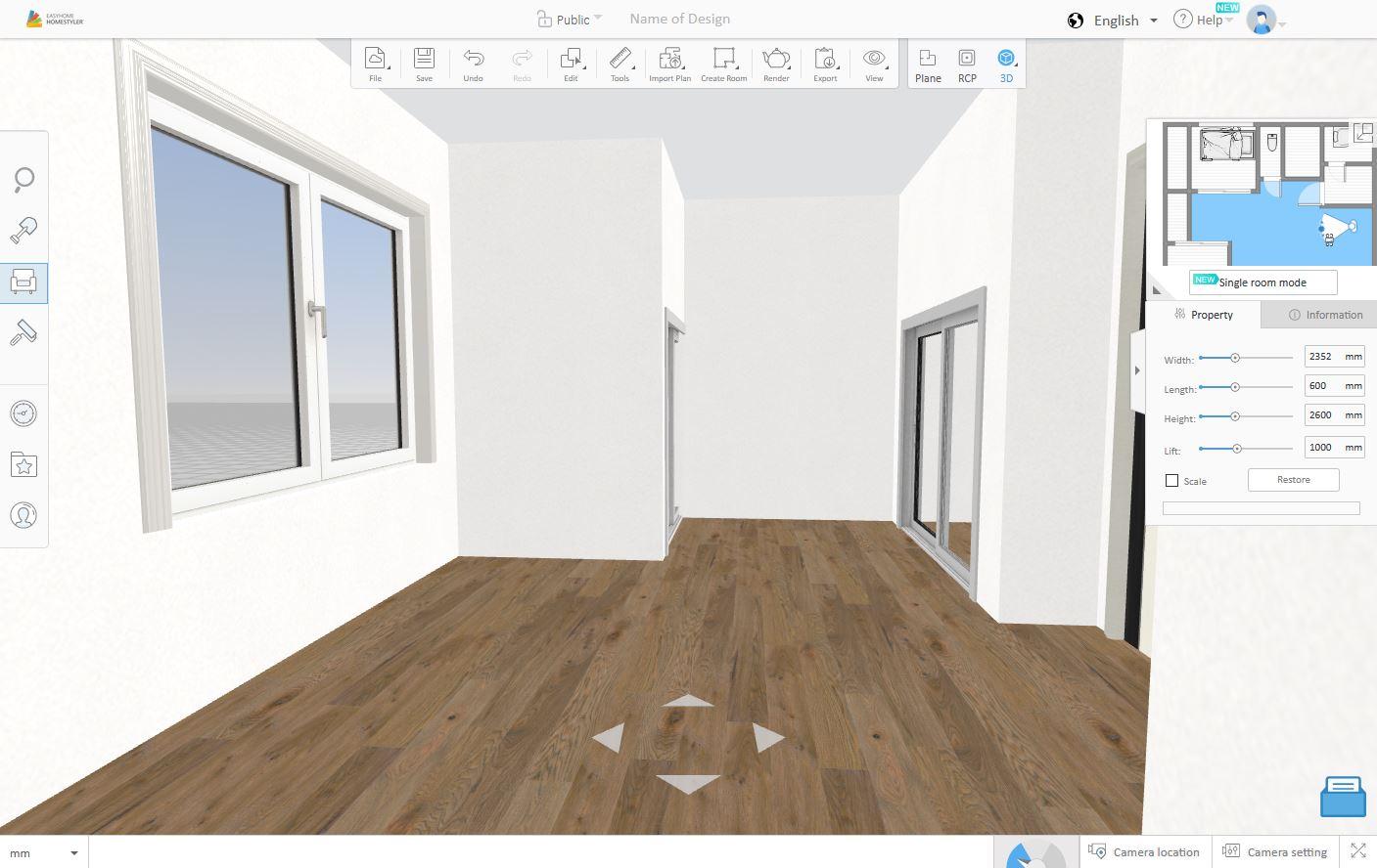 homestyler 「3D表示」一人称視点