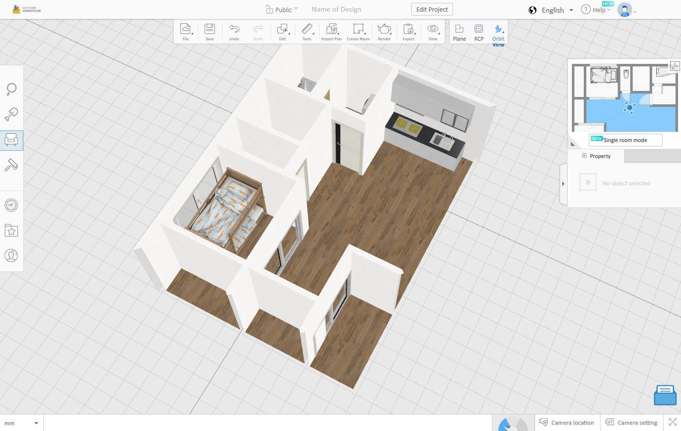 homestyler 「3D表示」見下ろし視点