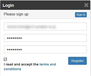 Wanaplan 「sign up」からユーザー登録可能