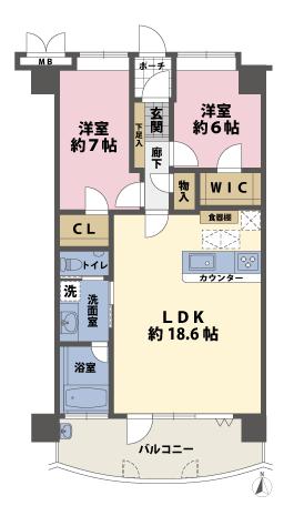 2LDKの間取図