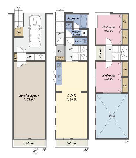 戸建3階の間取図