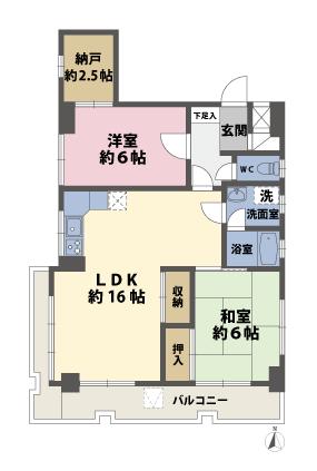2SLDKの間取図