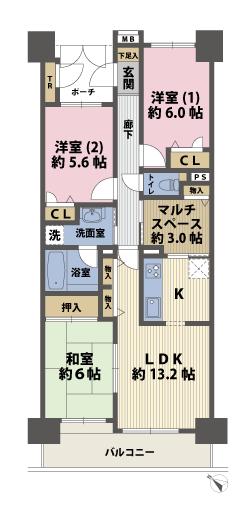 3SLDKの間取図