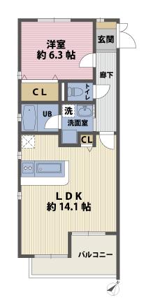 1LDKの間取図